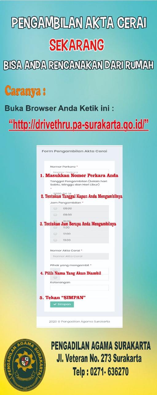 Dalam Rangka Percepatan Pelayanan Pengambilan Akta Cerai Pa Surakarta Launching Aplikasi Drive Thru